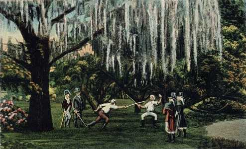 Painting of the Duelling Oaks in New Orleans - headstuff.org