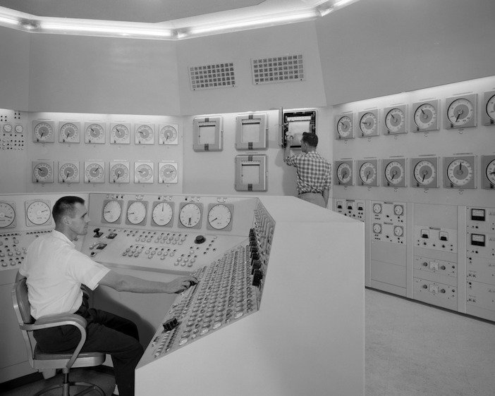 New Stock Old Stock Photograph of reactor control room
