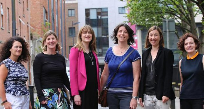 From left, Elaine Grainger of Talbot Gallery and Studios; Liz Coman of the Lab Gallery; Sheena Barrett of the Lab; Liz Burns of Fire Station Artists' Studios; Hilary Murray of ArtBox; and Oonagh Young of Oonagh Young Gallery. Photograph: John Beattie-Headstuff.org