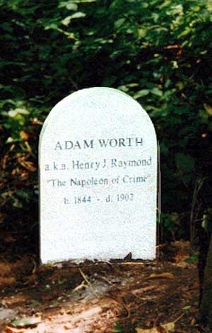 Adam Worth's tombstone - headstuff.org