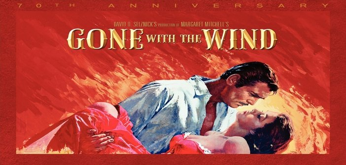 A poster for the 1939 film adaptation of 'Gone with the Wind', starring Clark Gable and Vivien Leigh.