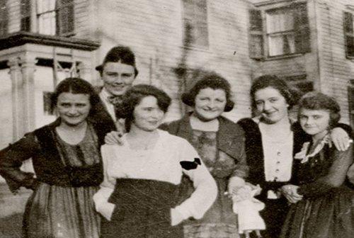 Margaret Mitchell, third from left, aged 22.