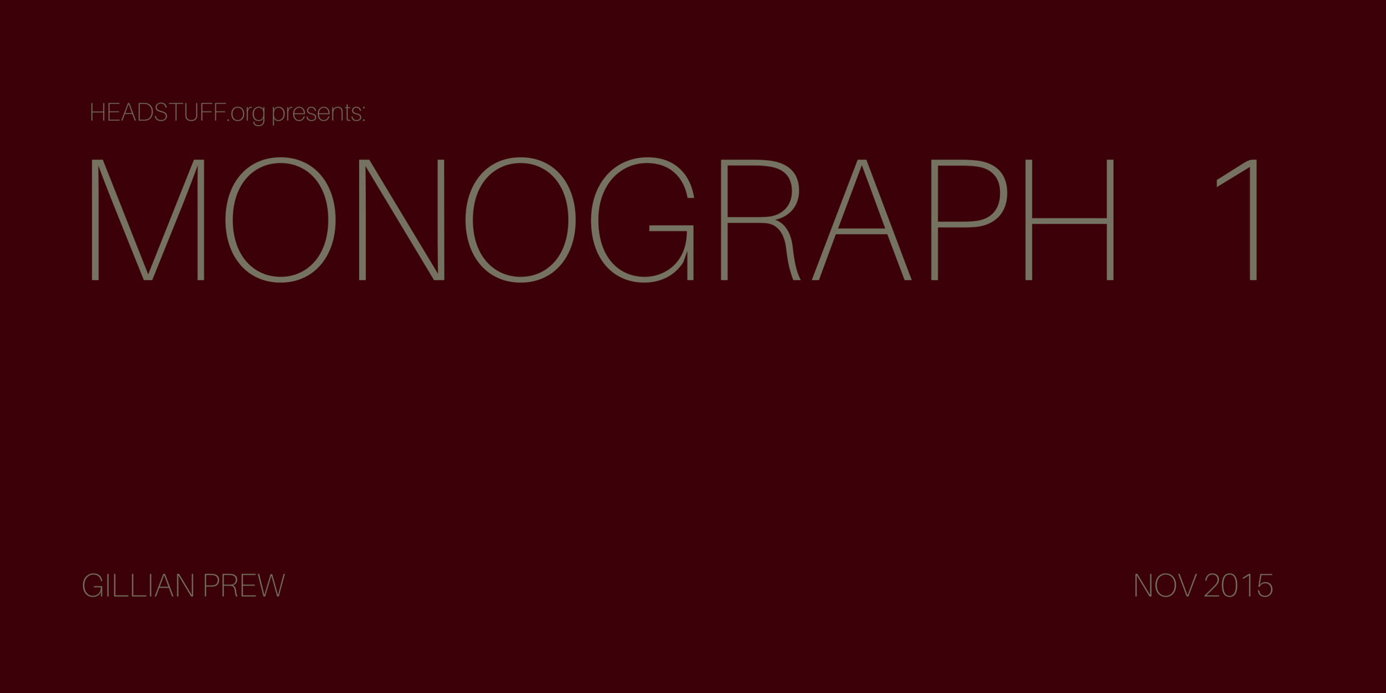 Poetry Monograph I: Gillian Prew - Headstuff.org