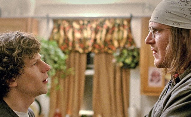 A still from 'The End of the Tour', starring Jason Segel as David Foster Wallace, and Jessie Eisenberg as David Lipsky.