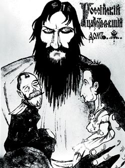 A caricature of Rasputin controlling the imperial family - headstuff.org