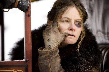 Jennifer Jason Leigh as Daisy Domergue in The Hateful Eight - HeadStuff.org
