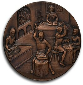 Medallion showing 16th century coinmakers at work - headstuff.org
