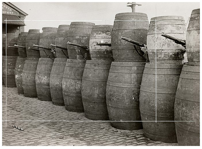 Barricade made from barrels, 1916 © Sean Sexton Collection - headstuff.org