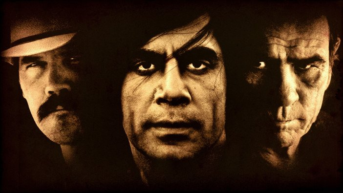 John Brolin, Javier Bardem and Tommy Lee Jones in No Country for Old Men (2007) - HeadStuff.org
