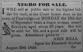 Clipping advertising the sale of Harriet's niece Kessiah - headstuff.org