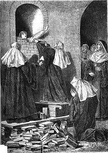 Drawing of a nun being walled up, by Vinzenz Katzler - headstuff.org