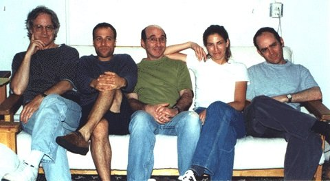 The team behind Dr. Katz. l-r Tom Snyder, H. Jon Benjamin, Jonathan Katz, Laura Silverman, and Todd Barry