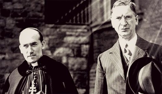 McQuaid and De Valera looking very serious