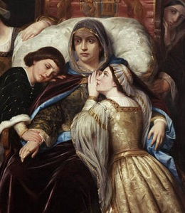 Isabella of Portugal, attended by her children Alfonso and Isabella of Castile - headstuff.org
