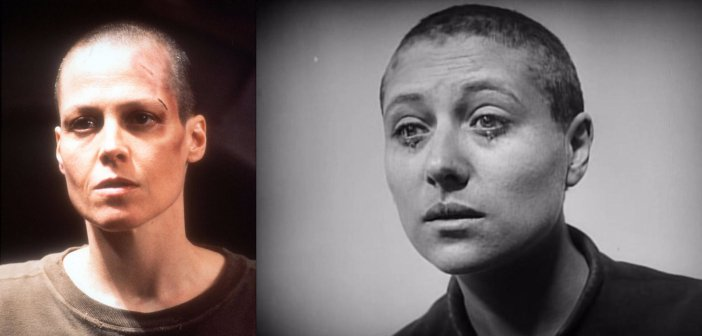 Sigourney Weaver in Alien 3 and the Joan of Arc depicted in Carl Theodor Dreyer's The Passion of Joan of Arc. - HeadStuff.org