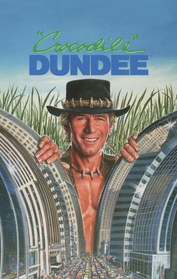 Paul Hogan attacks New York in the Crocodile Dundee poster 1986. HeadStuff.org
