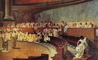 Cicero Denouncing Catiline, by Cesare Maccari - headstuff.org