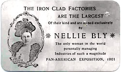 Card with Nellie Bly's face on it - headstuff.org