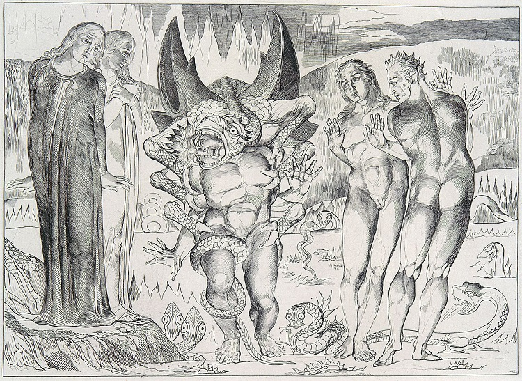 """The Six-Footed Serpent Attacking Agnolo Brunelleschi"" by William Blake - headstuff.org"