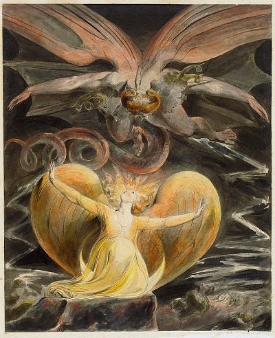 """The Great Red Dragon and the Woman Clothed In Sun"" by William Blake - headstuff.org"