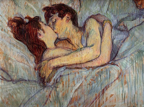 In Bed - The Kiss by Henri de Toulouse-Lautrec - headstuff.org