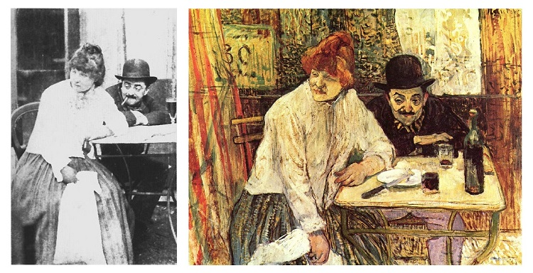 A painting by Henri de Toulouse-Lautrec, next to a photo of the same couple - headstuff.org