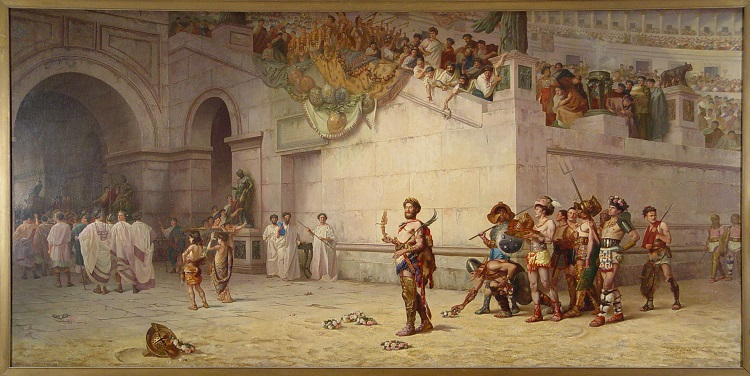 """The Emperor Commodus Leaving the Arena at the Head of the Gladiators"", by Edwin Howland Blashfield headstuff.org"
