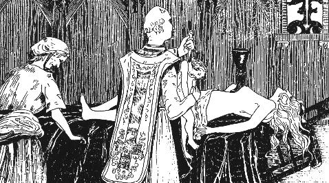 An 1895 engraving by Henry de Malvost showing the Black Mass being celebrated on Madame de Montespan - headstuff.org