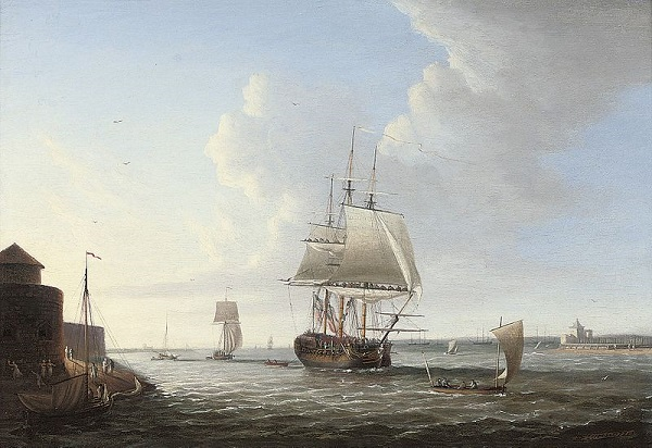 A ship in Portsmouth harbour in the 18th century - headstuff.org