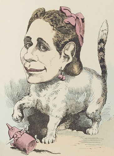A caricature of Marguerite Bellanger as a cat - headstuff.org