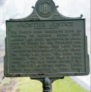 A marker commemorating where Micajah's head was put on display - headstuff.org