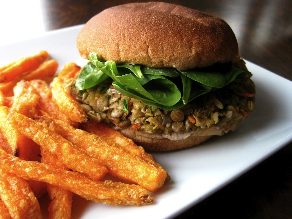 Lentil Burger & Garlic Yam Fries