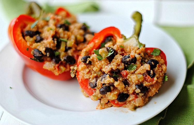 Black Bean + Quinoa Stuffed Peppers