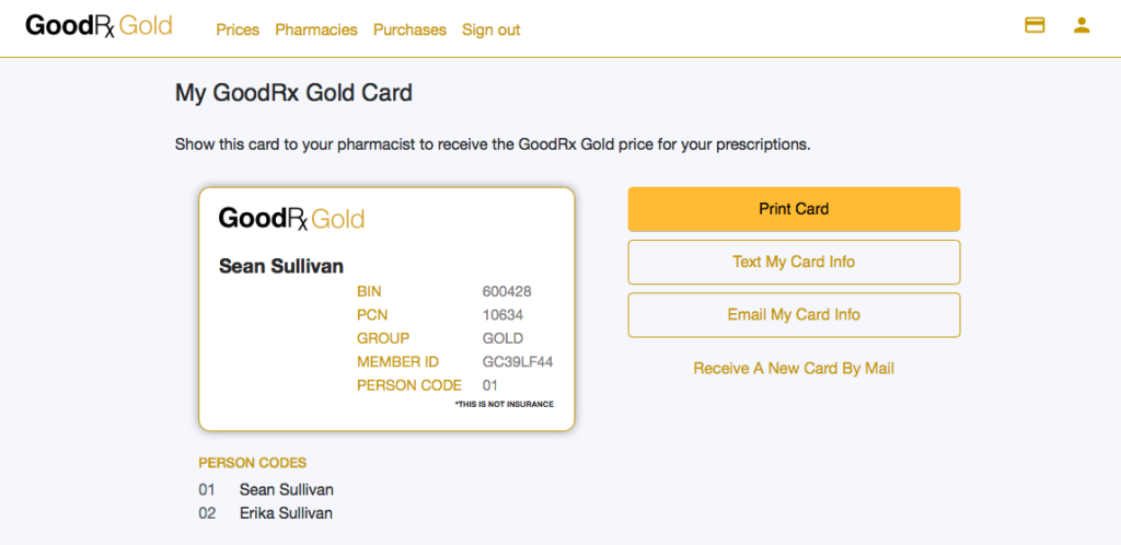 GoodRX Gold Card Example