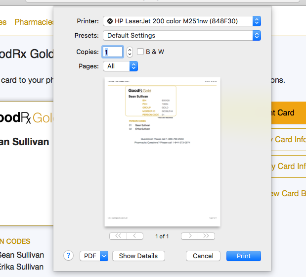GoodRX Gold Signup Printing Card