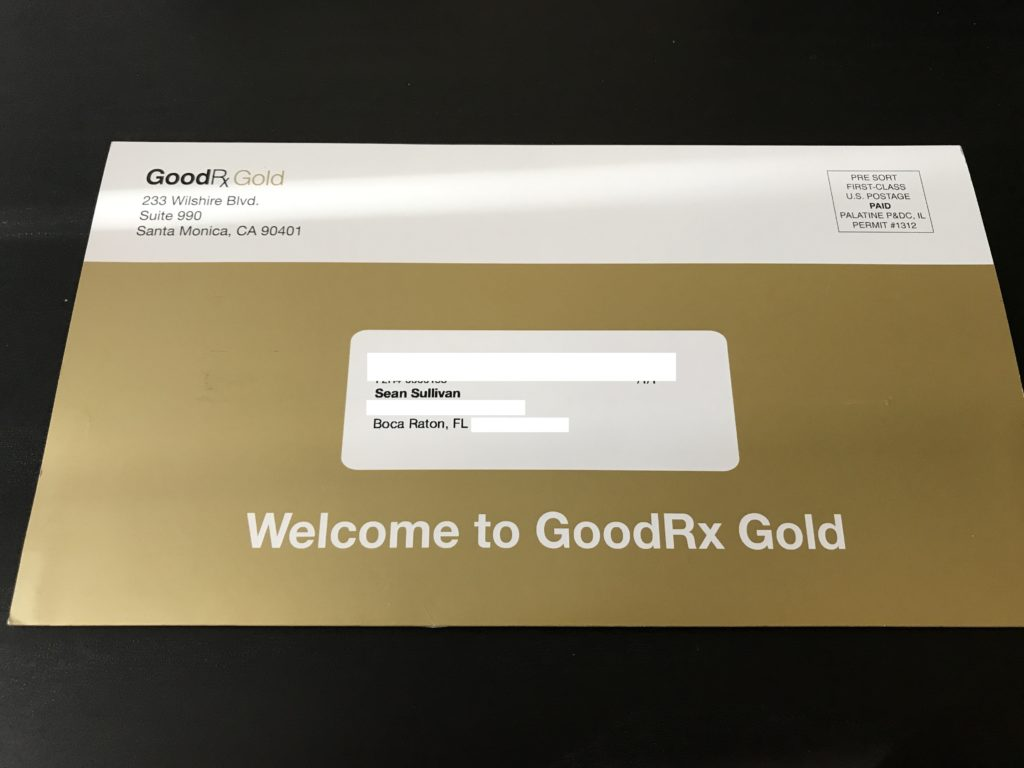 GoodRx Gold Card Envelope