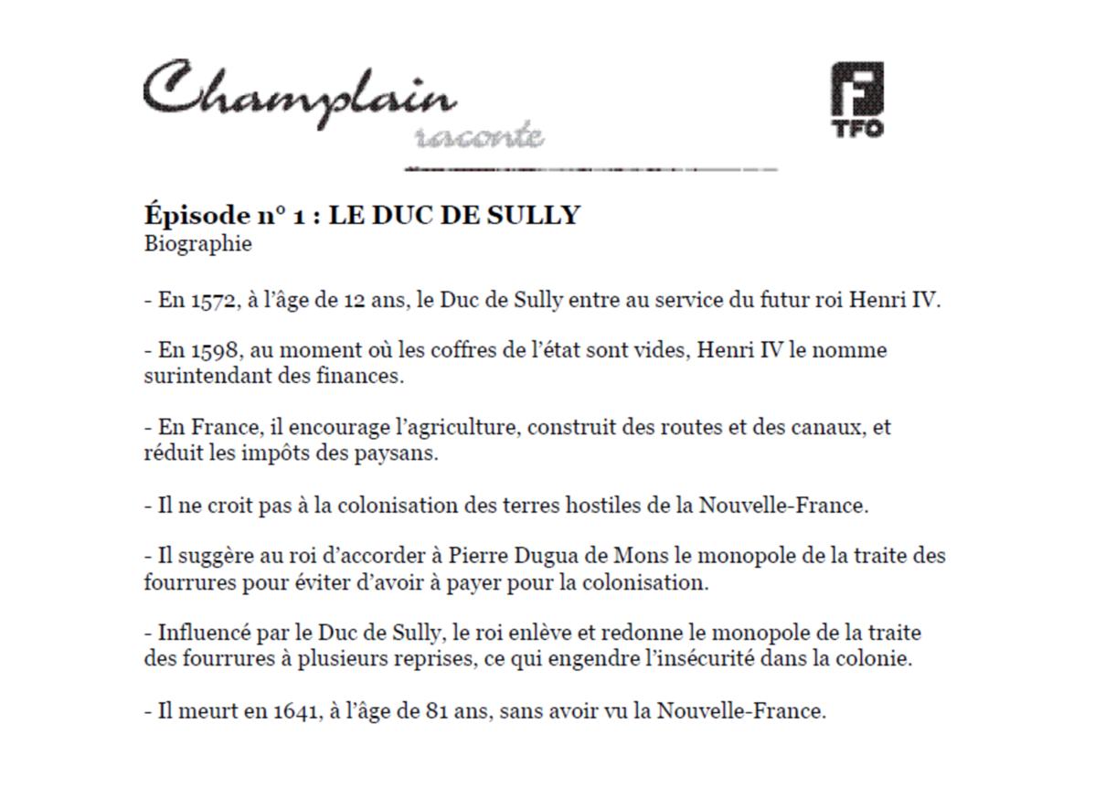 Duc De Sully Biographie Champlain Raconte Livret Histoire