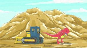 Vidéo - Bulldozer contre dinosaure