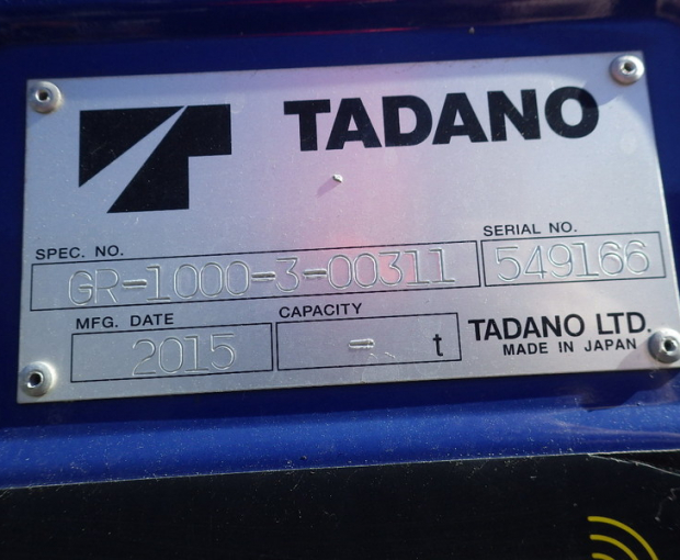 2015 Tadano GR1000XL-3 Rough Terrain Crane 31
