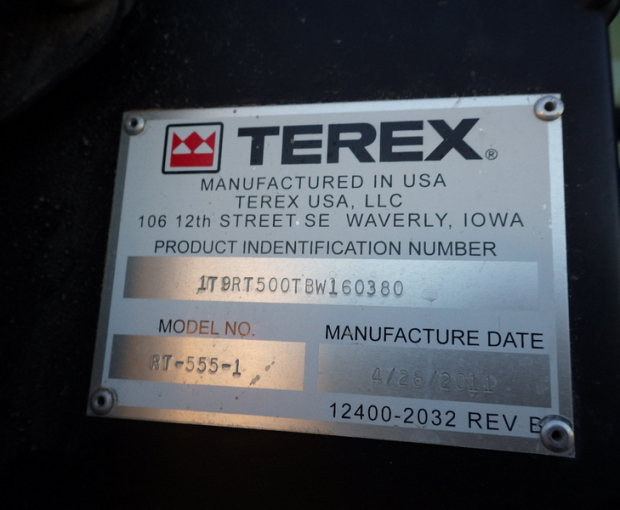 2011 Terex RT555 Rough Terrain Hydraulic Crane 6