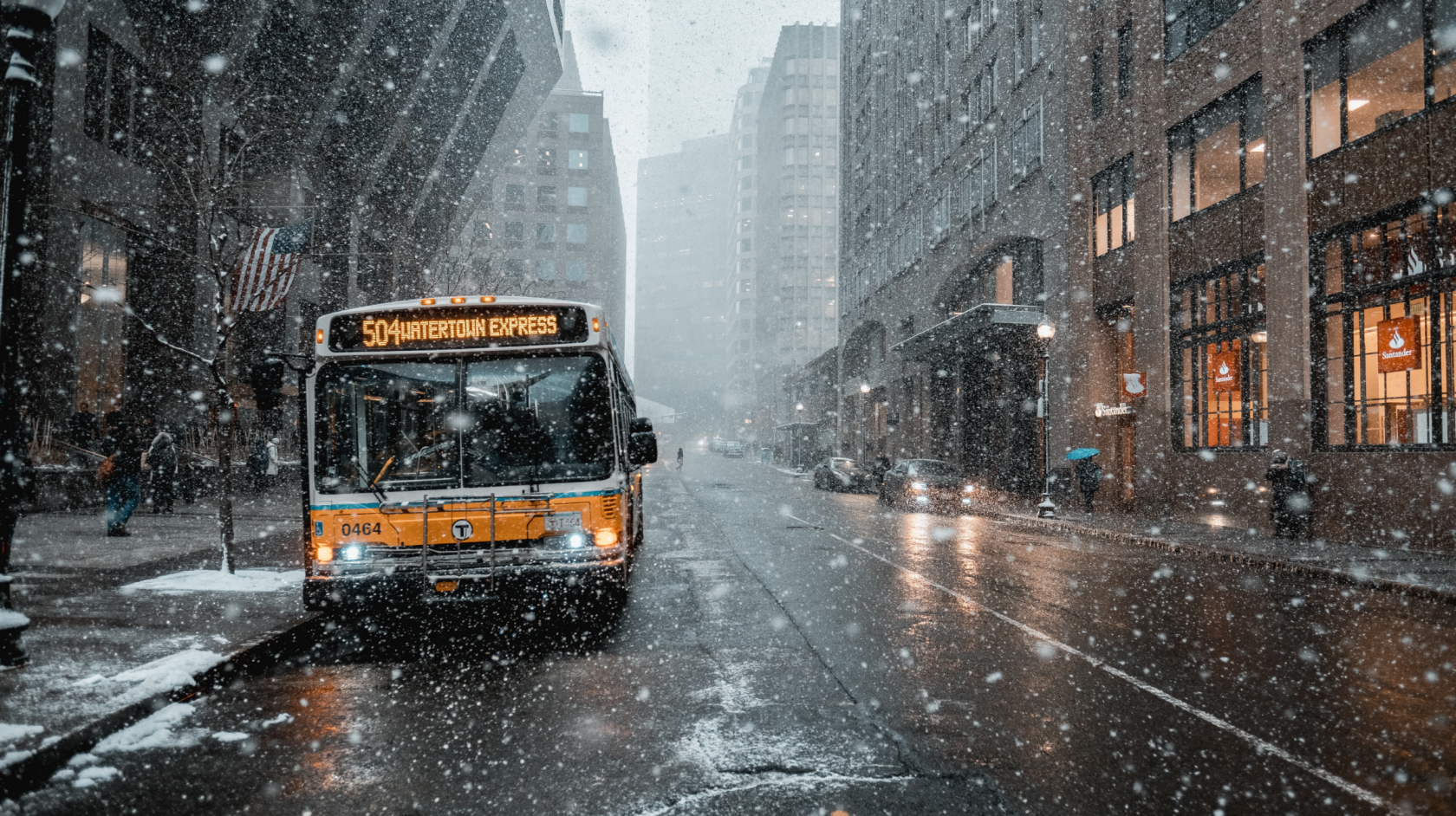 Boston bus in snowy weather