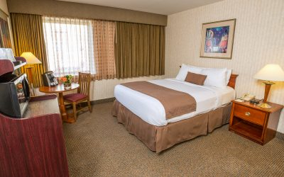 single queen guest room at the inn at longwood medical