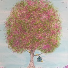 paintinn tree photo with bird house