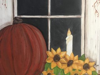 october paintinn pumpkin, candle, and flowers