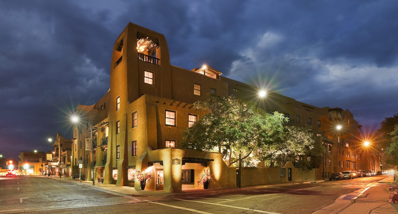 La Fonda hotel is located on the Santa Fe plaza