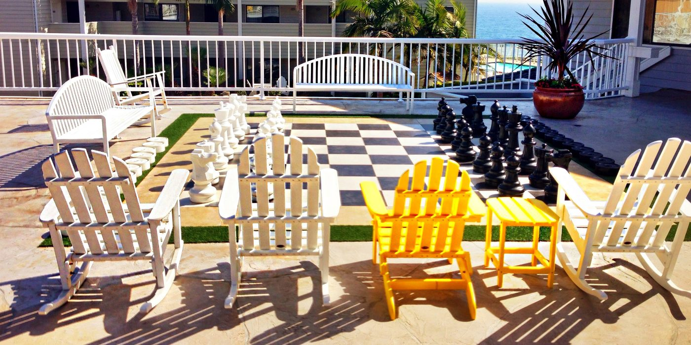 Kid friendly play deck giant checkers Pismo Lighthouse Suties