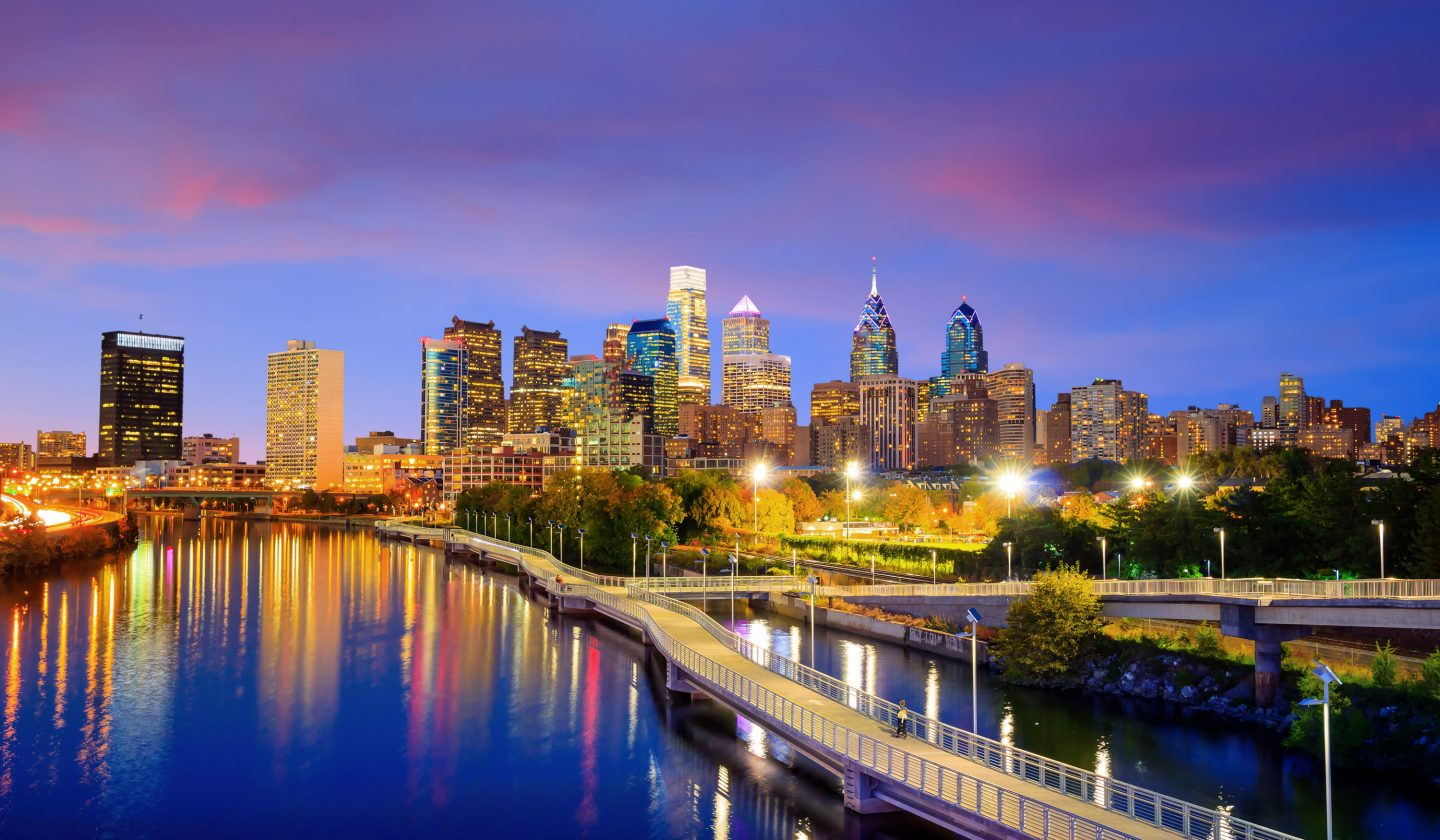 skyline of Philadelphia near the water