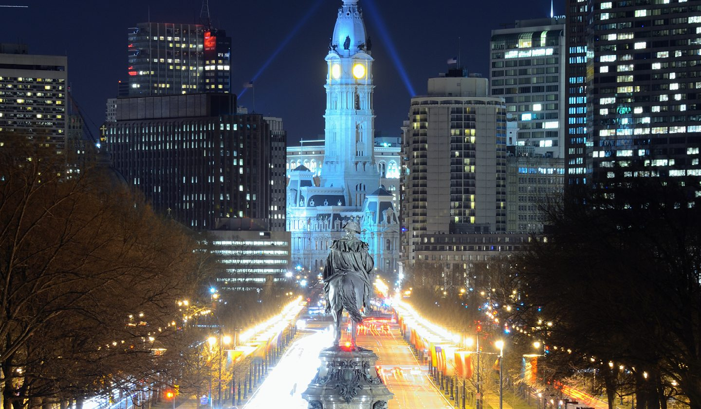center city at night in Philadelphia