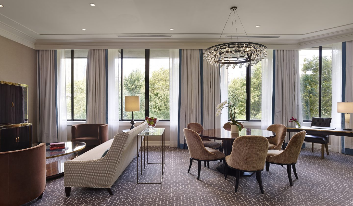 suite with living room at The Rittenhouse Hotel in Philadelphia