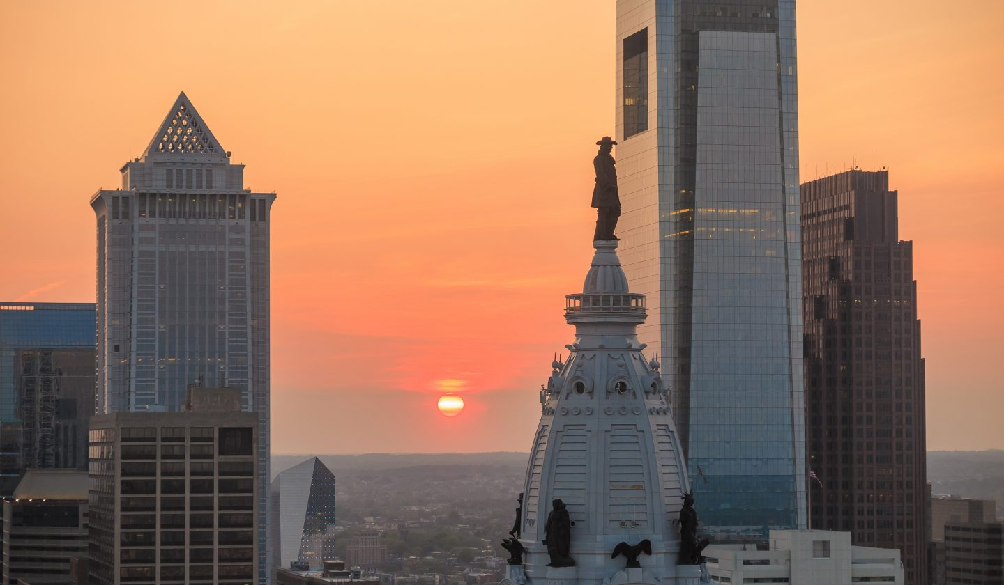 sunset in philadelphia center city